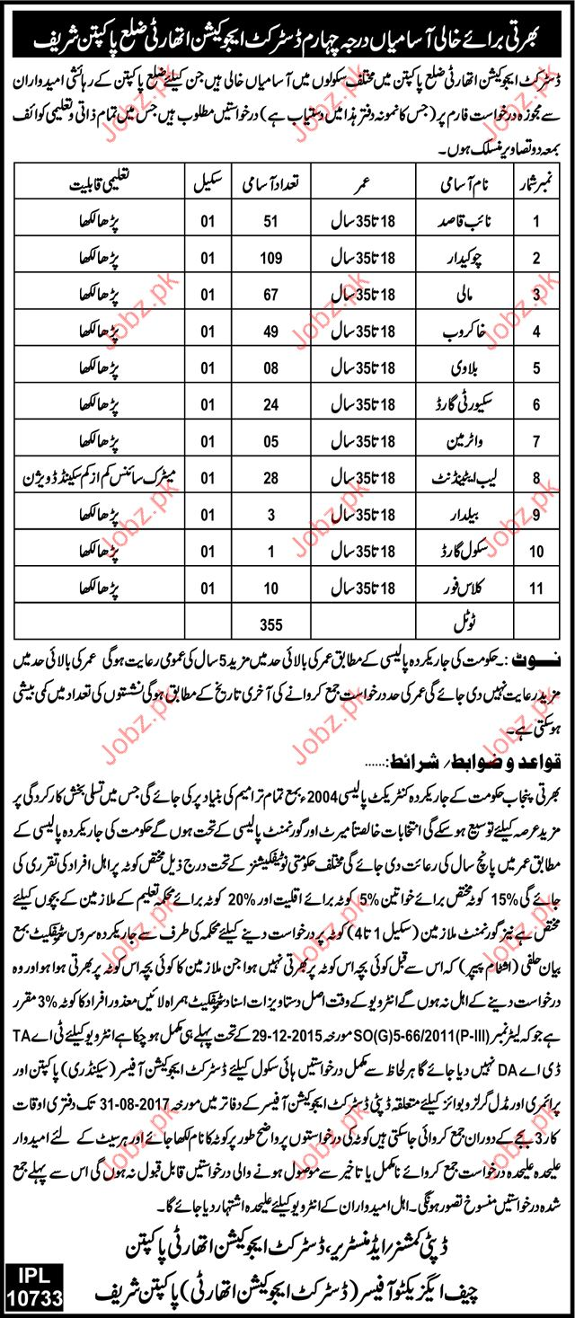 District Education Authority Required Clerial Staff