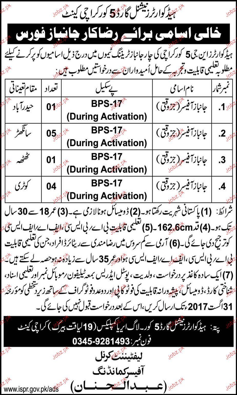 Headquarters National Guard 5 Corps Karachi Jobs