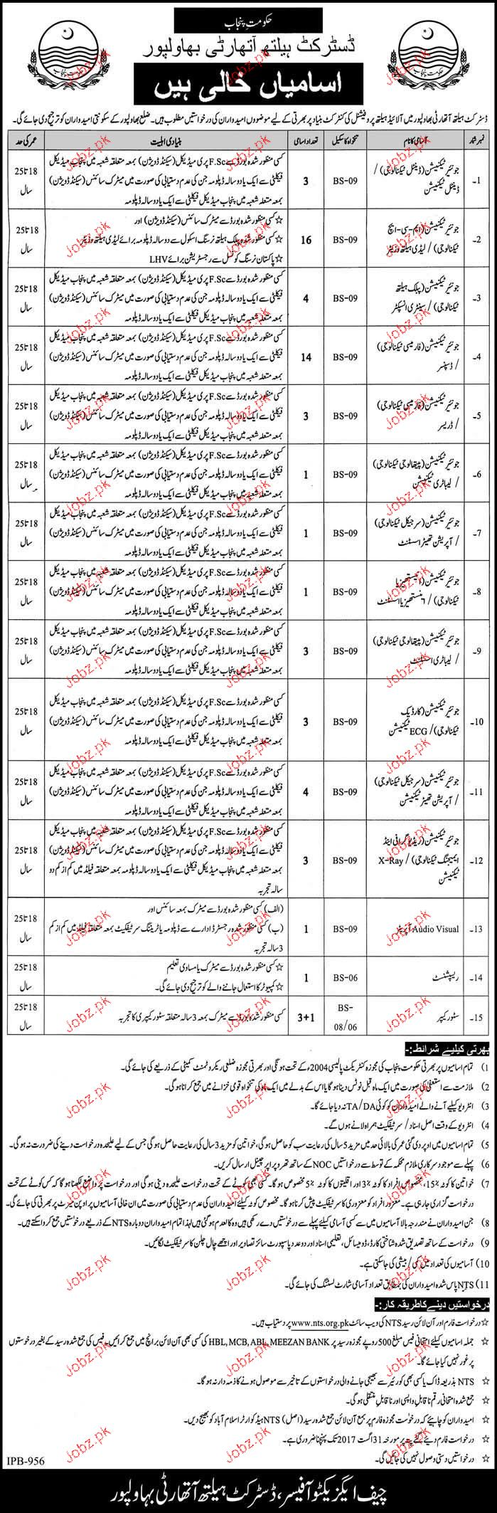District Health Authority Bahawalpur NTS Jobs