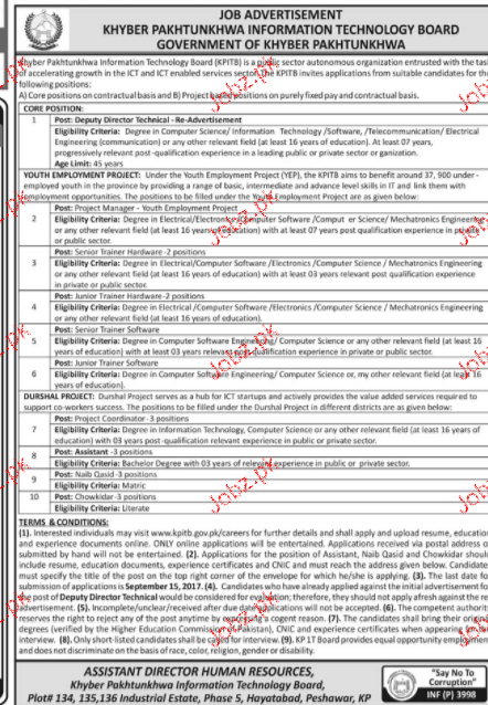Khyber Pakhtunkhawa Information Technology Board Jobs