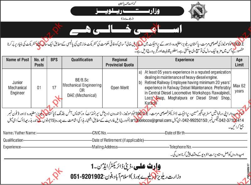Job in Ministry of Railways