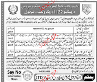 Recruitment in Rescue 1122 in Khyber pakhtunkhawa