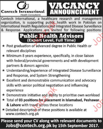 Contech International Health Consultants Required Advisor
