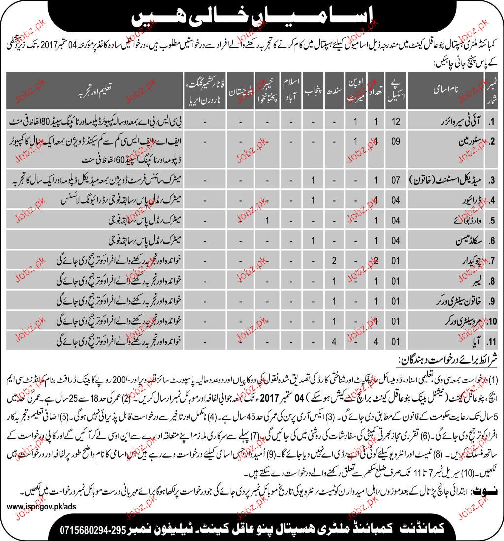 Combined Military Hospital CMH Pano Aqil Jobs