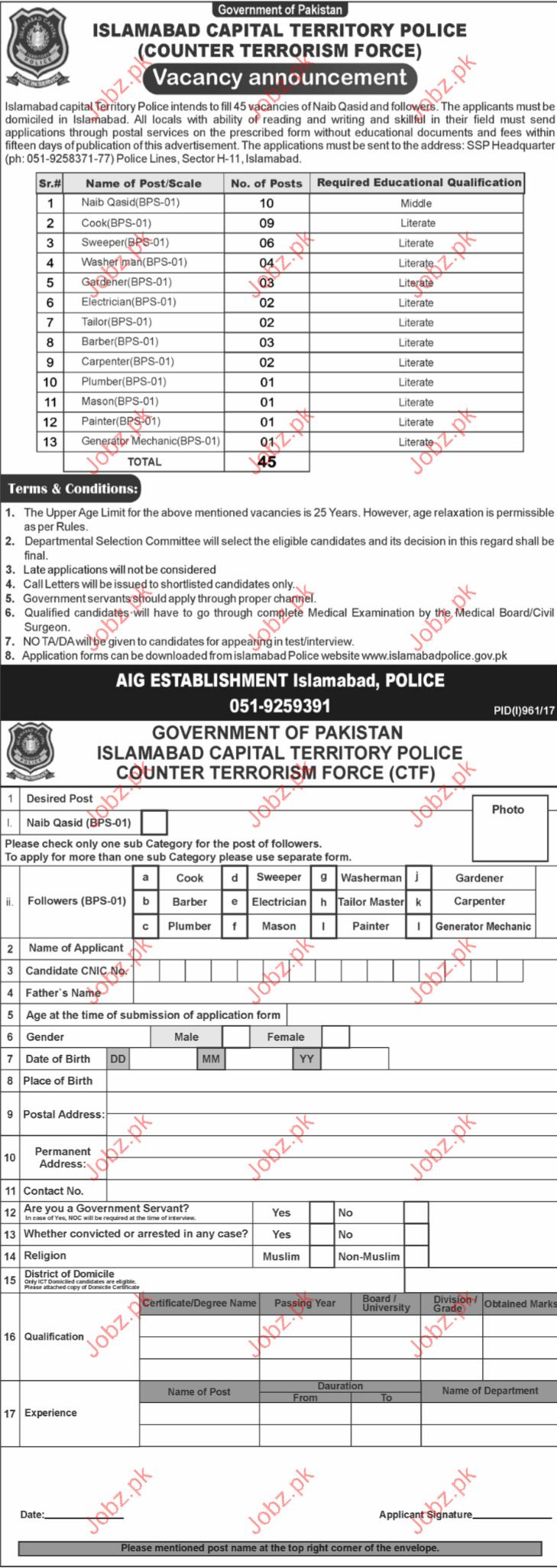 Islamabad Capital Territory Police Required Clerical Staff
