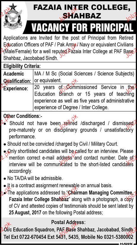 Fazaia Degree College Shahbaz Jobs