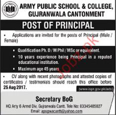 Army Public School & College Required Principal