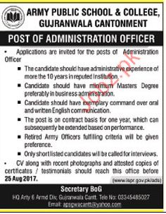 Army Public School & College Required Administrator Officer