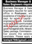 Business Manager and Sales Engineers Job Opportunity