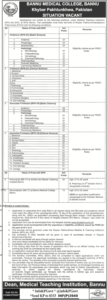 Bannu Medical College Bannu Jobs
