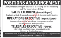 Operation Executives, Sales Executives  Job Opportunity