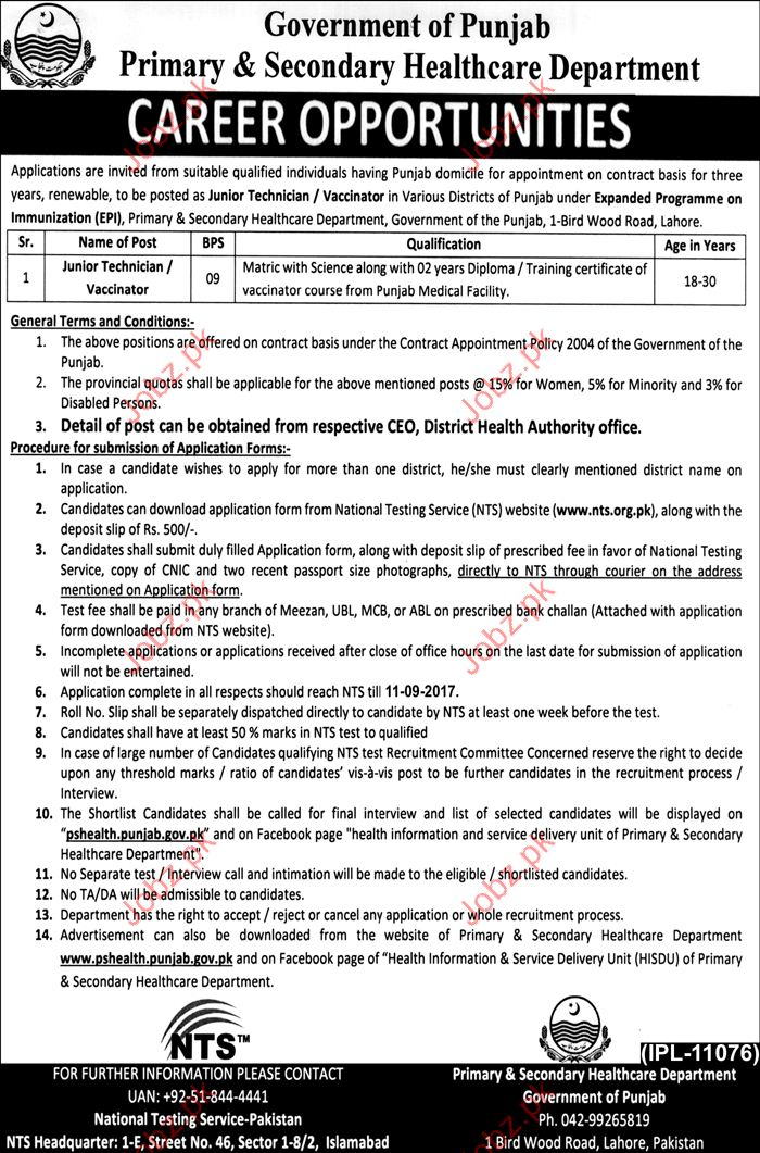 Job in Primary & Secondary Healthcare Department