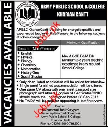 APS&C Army Public School And College Jobs