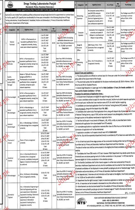 Drug Testing Laboratories Punjab NTS Jobs