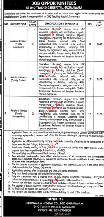 District Headquarter Hospital DHQ Gujranwala Jobs Open