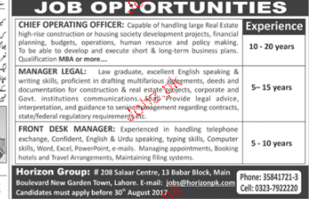 Chief operating officers manager legal job opportunity 2019 job advertisement pakistan - Chief operating officer jobs ...