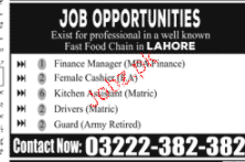 Finance Manager, Female Cashiers Job Opportunity