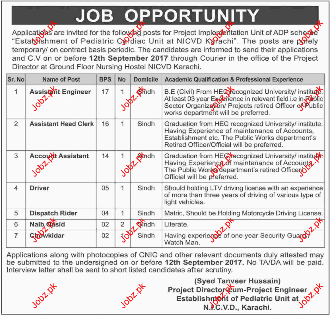 Jobs in Pediatric Unit NICVD Karachi