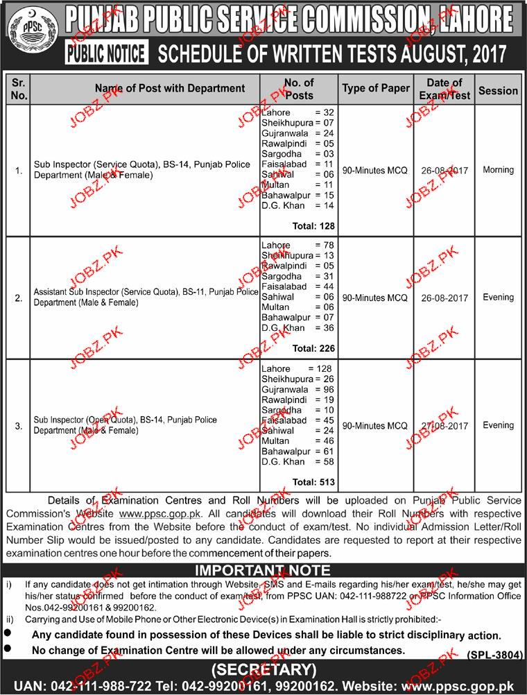 Punjab Police Department Jobs Through PPSC