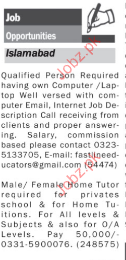 Male & Female Tutiors Required for Private Schools