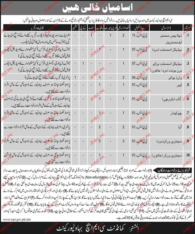 Combined Military Hospital CMH Bahawalpur Jobs