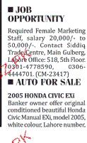Female Marketing Staff Job Opportunity