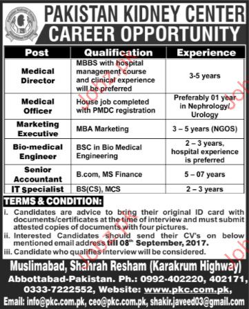 Pakistan Kidney Center Required Medical Director  Jobs Pakistan