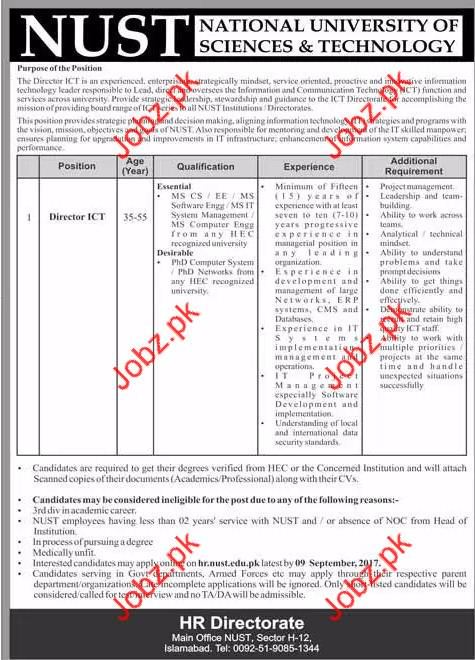 director ict job national university of science  u0026 technology 2019 job advertisement pakistan
