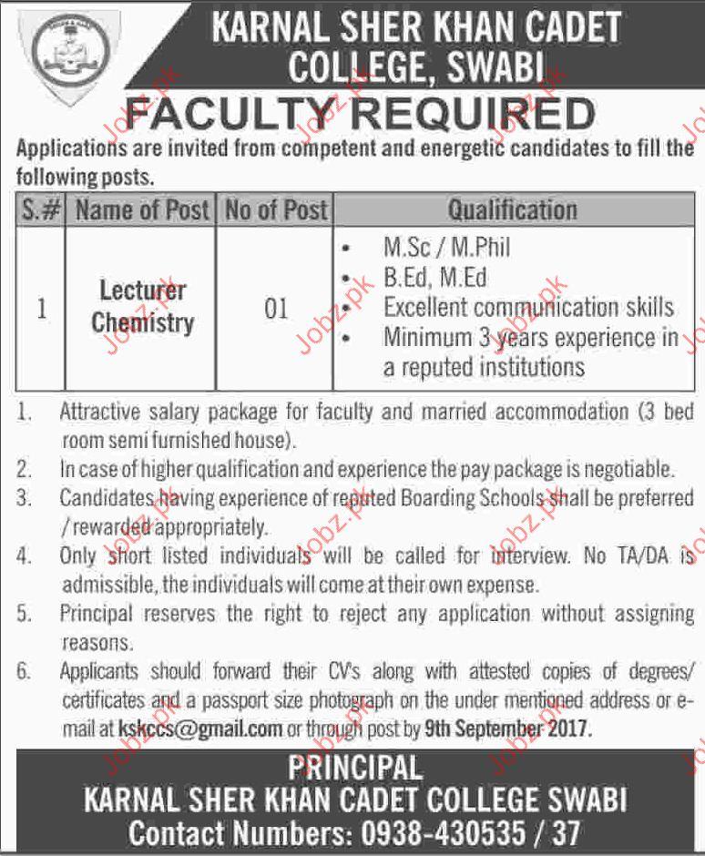 Karnal Sher Khan Cadet College Jobs Opportunity