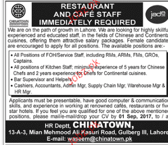 Hotel and Restaurant Staff Job Opportunity