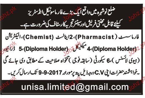 Chemists, Pharmacists Job Opportunity