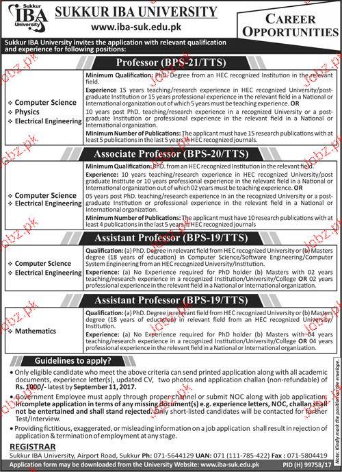 Sukkur IBA University Jobs