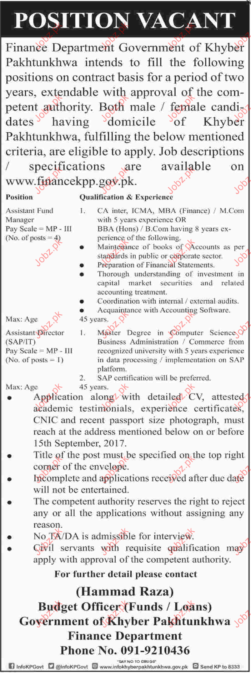 Finance Department Required Assistant Fund manager