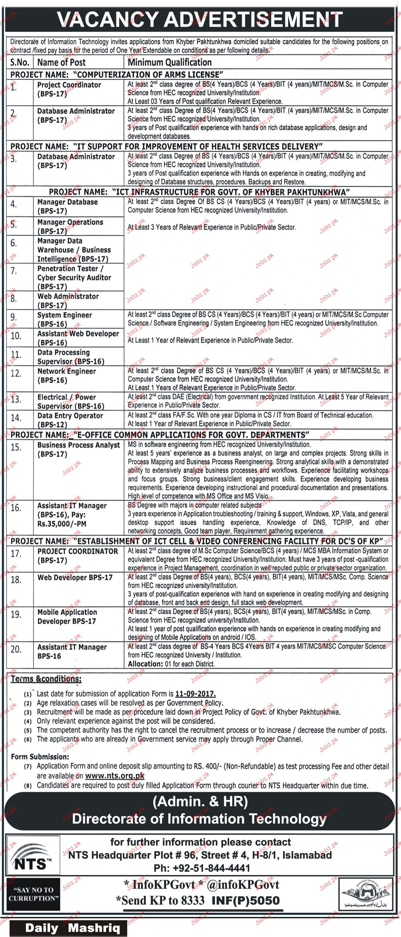 Directorate of Information Technology DIT NTS Jobs