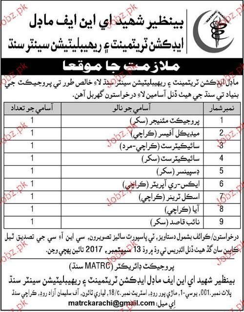 Benazir Shaheed ENF Model Addiction Treatment Center Jobs