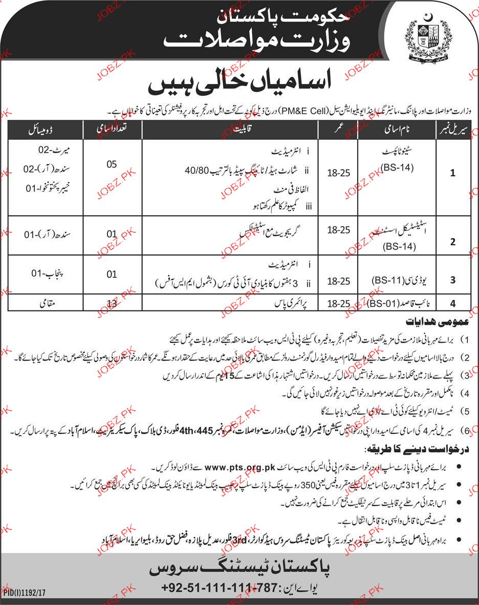Ministry of Communications, Government of Pakistan PTS Jobs
