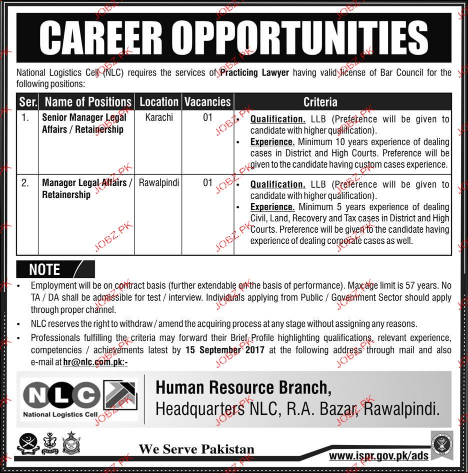 National Logistics Cell NLC Jobs