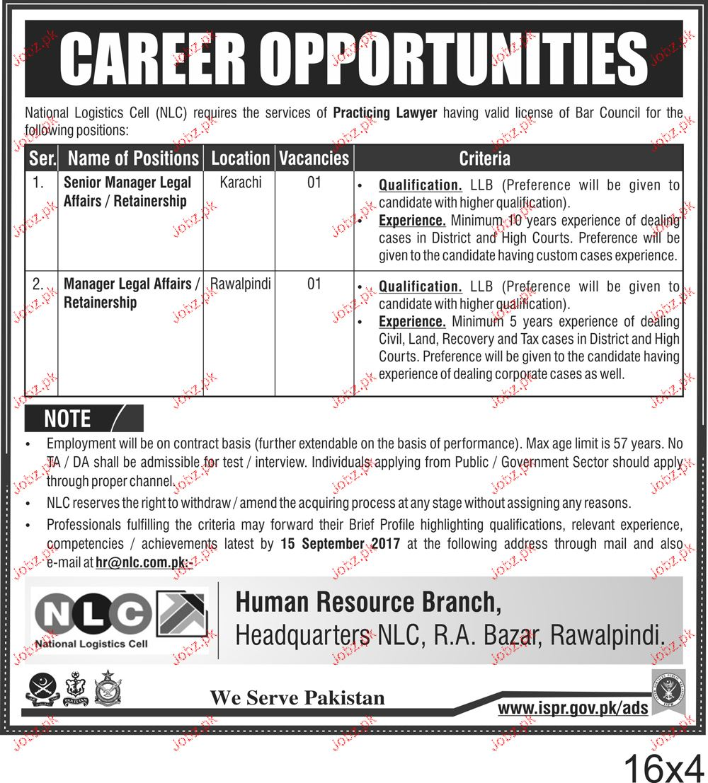 National Logistics Cell NLC  Job Open