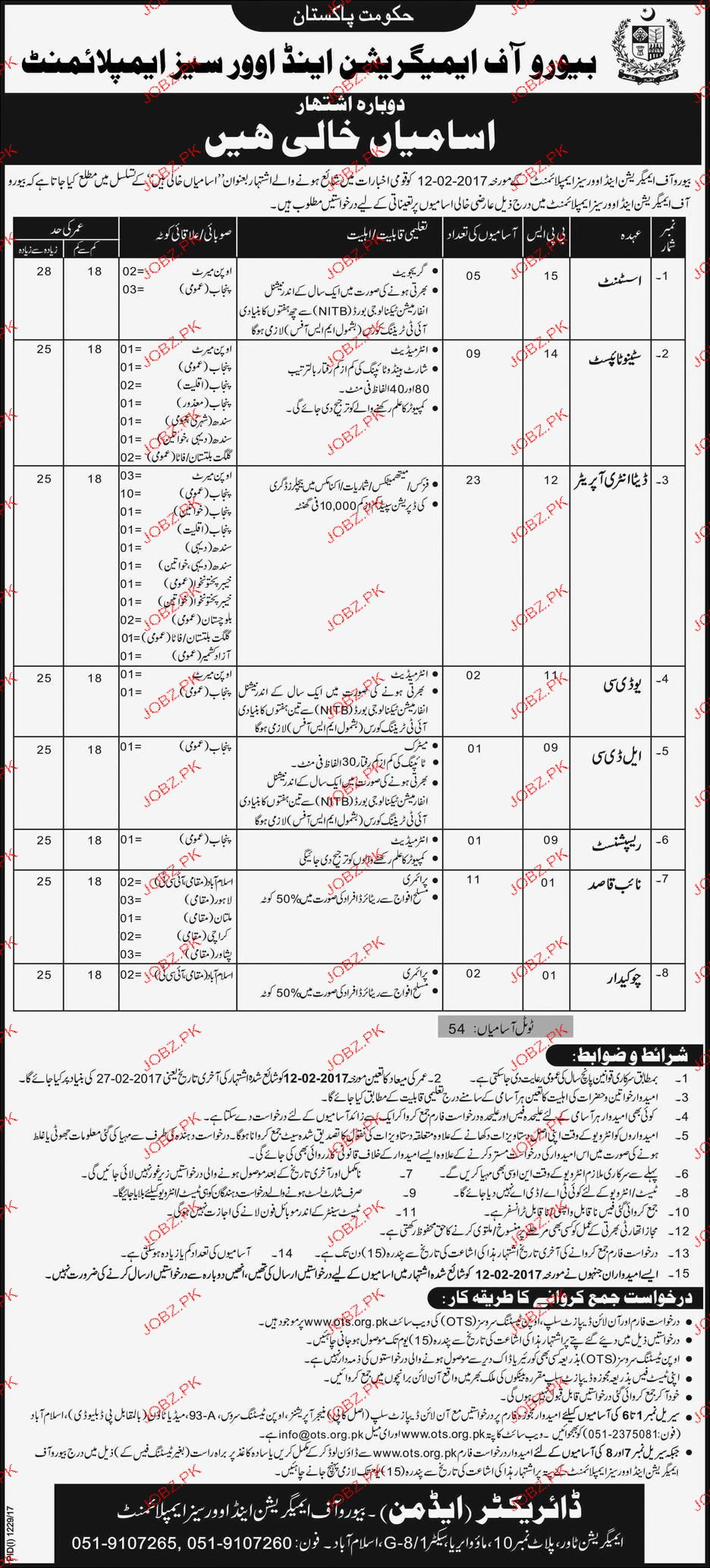Bureau of Immigration and Overseas Employment OTS Jobs