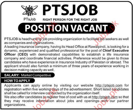 Chief Executive Officer Jobs Pakistan Testing Services PTS