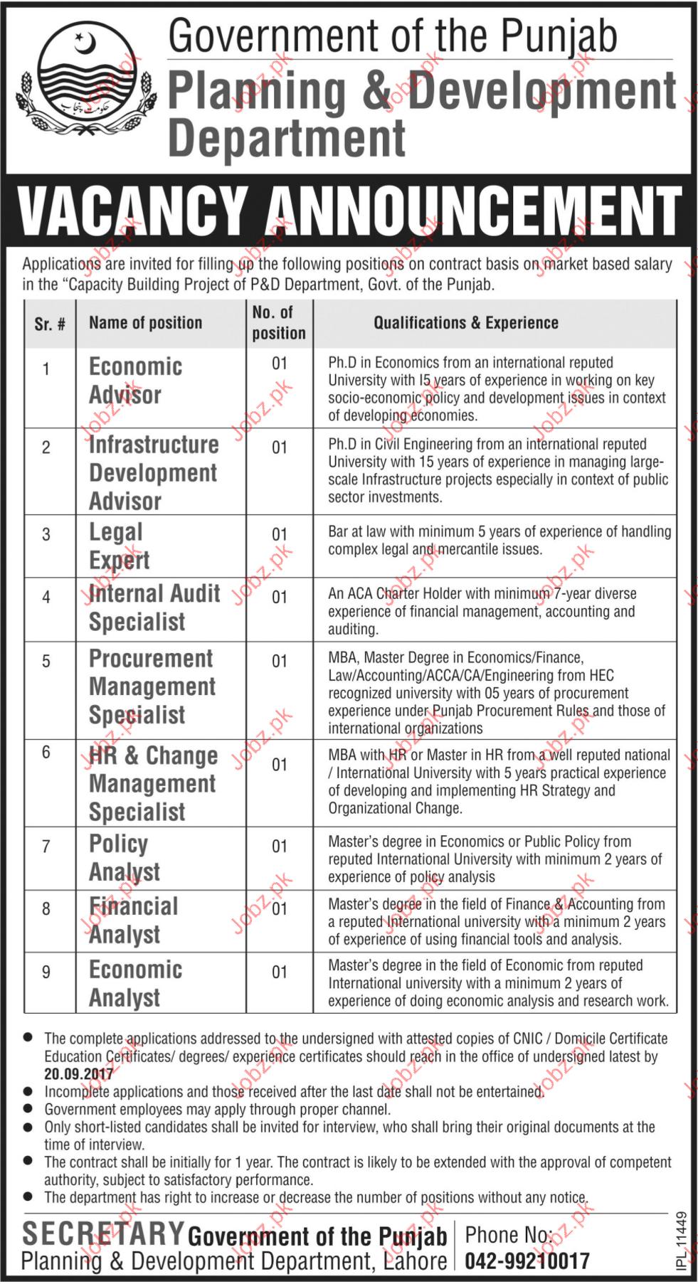 Economic Advisor Jobs in Planning & Development Department