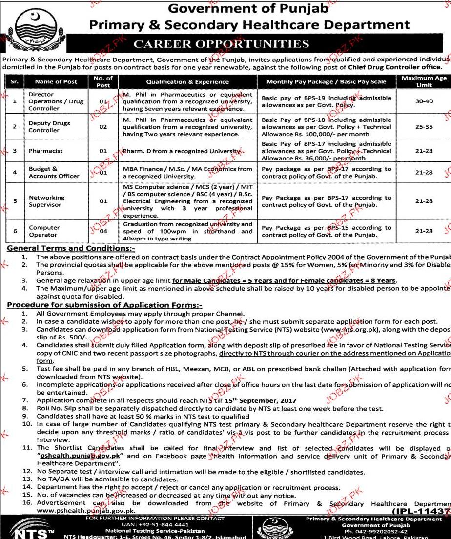 Primary & Secondary Healthcare Department NTS Jobs Open