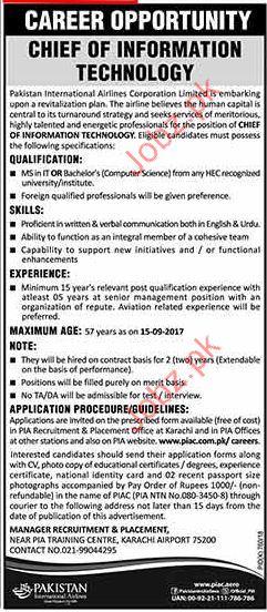Pakistan International Airlines Corporation Jobs 2017