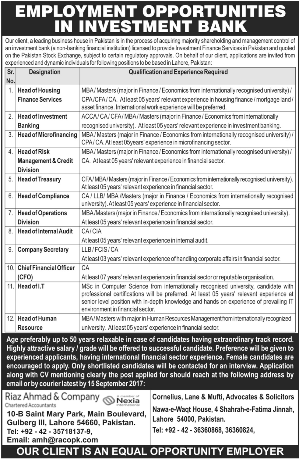 Employment Opportunities In Investment Bank 2019 Job