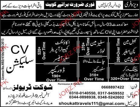 Tableman, Salesmen, Accountant Job Opportunity