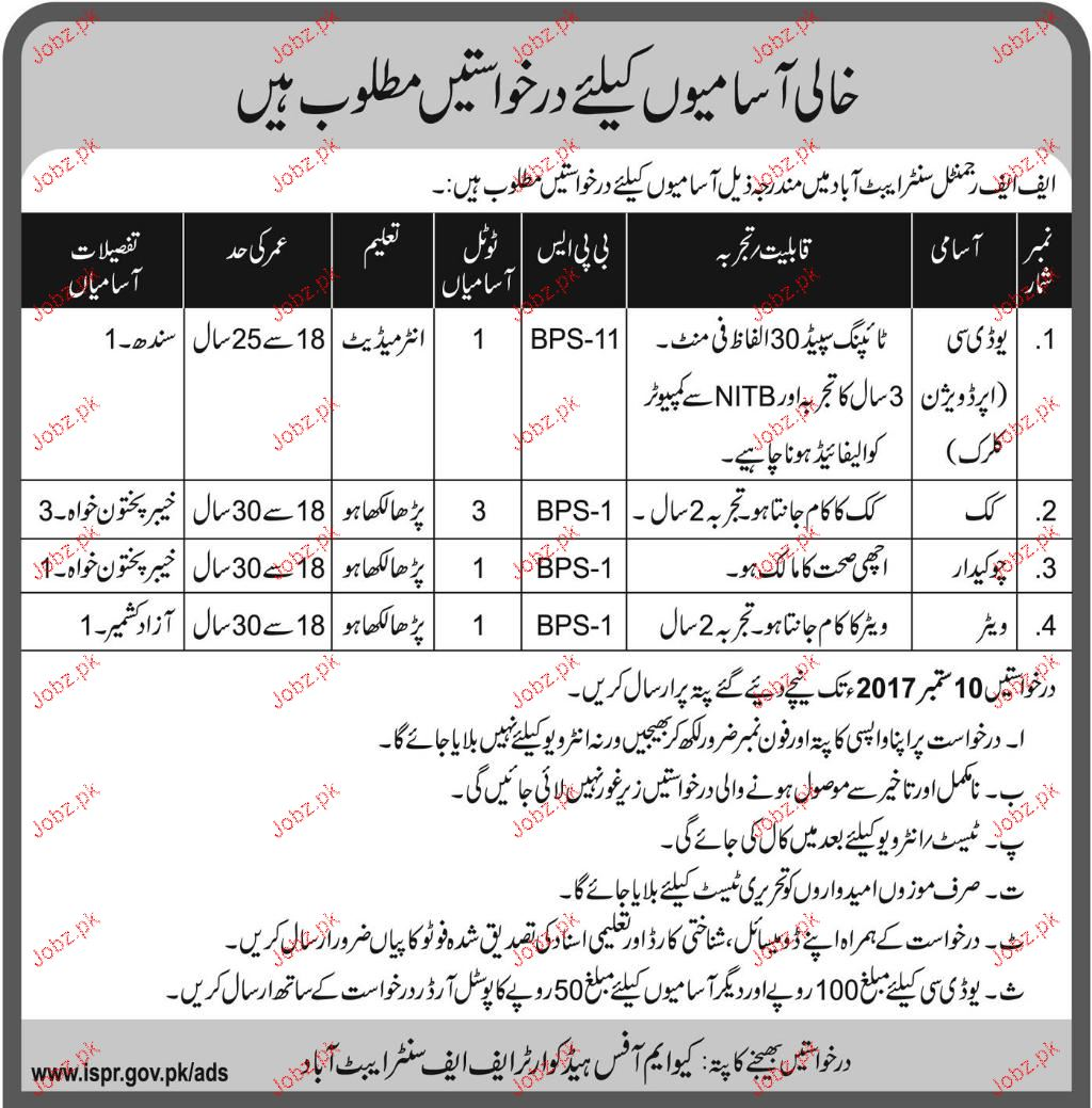 FF Regimental Center Pakistan Army Jobs