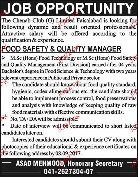 Food Safety & Quality Manager Job Opportunity