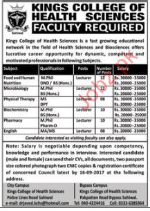 Kings College Of Health Sciences  Required Medical Staff