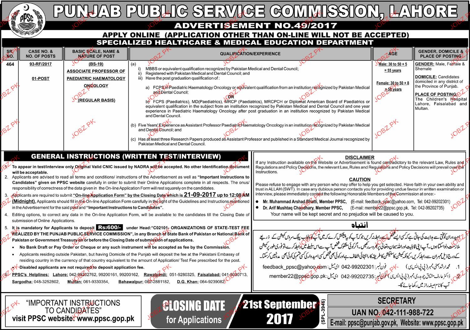 Punjab Public Service Commission PPSC Jobs