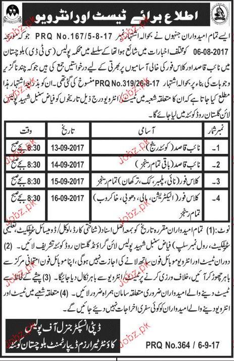 Balochistan Police Department   Jobs